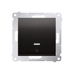 Łącznik dwubiegunowy z podświetleniem LED (moduł) 10AX 250V, szybkozłącza, antracyt, metalizowany-252344
