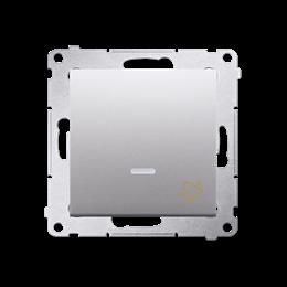 """Przycisk """"dzwonek"""" z podświetleniem LED (moduł) 10AX 250V, szybkozłącza, srebrny mat, metalizowany-252179"""
