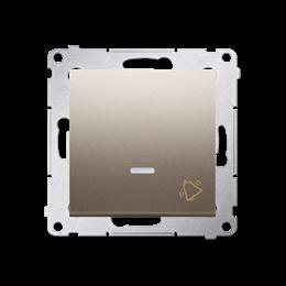 """Przycisk """"dzwonek"""" z podświetleniem LED (moduł) 10AX 250V, szybkozłącza, złoty mat, metalizowany-252180"""