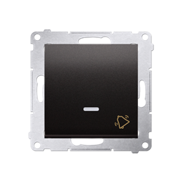 """Przycisk """"dzwonek"""" z podświetleniem LED (moduł) 10AX 250V, szybkozłącza, antracyt, metalizowany-252181"""