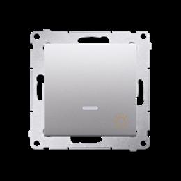"""Przycisk """"światło"""" z podświetleniem LED (moduł) 10AX 250V, szybkozłącza, srebrny mat, metalizowany-252204"""
