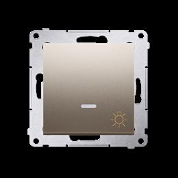 """Przycisk """"światło"""" z podświetleniem LED (moduł) 10AX 250V, szybkozłącza, złoty mat, metalizowany-252205"""
