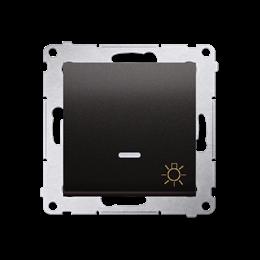 """Przycisk """"światło"""" z podświetleniem LED (moduł) 10AX 250V, szybkozłącza, antracyt, metalizowany-252206"""