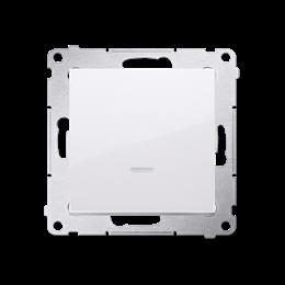 Przycisk pojedynczy zwierny bez piktogramu z podświetleniem LED (moduł) 10AX 250V, szybkozłącza, biały-252153
