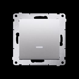 Przycisk pojedynczy zwierny bez piktogramu z podświetleniem LED (moduł) 10AX 250V, szybkozłącza, srebrny mat, metalizowany-25215
