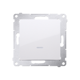 Przycisk pojedynczy zwierny bez piktogramu z podświetleniem LED (moduł) 16AX 250V, zaciski śrubowe, biały-252159