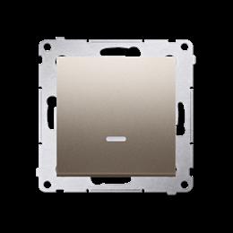Przycisk pojedynczy zwierny bez piktogramu z podświetleniem LED (moduł) 16AX 250V, zaciski śrubowe, złoty mat, metalizowany-2521