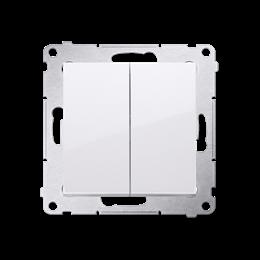 Przycisk podwójny zwierny. Dwuobwodowy: 2 wejścia, 2 wyjścia. (moduł) 10AX 250V, szybkozłącza, biały-252280