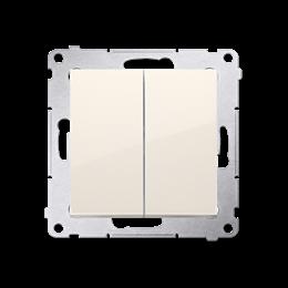 Przycisk podwójny zwierny. Dwuobwodowy: 2 wejścia, 2 wyjścia. (moduł) 10AX 250V, szybkozłącza, kremowy-252281