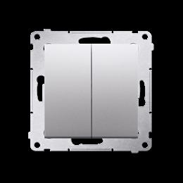 Przycisk podwójny zwierny. Dwuobwodowy: 2 wejścia, 2 wyjścia. (moduł) 10AX 250V, szybkozłącza, srebrny mat, metalizowany-252282