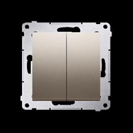 Przycisk podwójny zwierny. Dwuobwodowy: 2 wejścia, 2 wyjścia. (moduł) 10AX 250V, szybkozłącza, złoty mat, metalizowany-252283