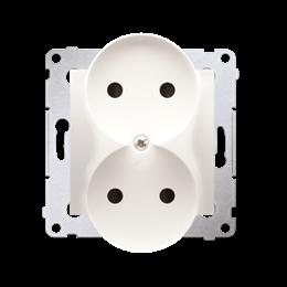 Gniazdo wtyczkowe podwójne bez uziemienia z przesłonami torów prądowych do ramek Premium (moduł) 16A 250V, zaciski śrubowe, krem