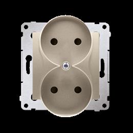 Gniazdo wtyczkowe podwójne bez uziemienia z przesłonami torów prądowych do ramek Premium (moduł) 16A 250V, zaciski śrubowe, złot