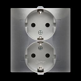 Gniazdo wtyczkowe podwójne z uziemieniem typu Schuko z przesłonami torów prądowych (kompletny produkt) 16A 250V, zaciski śrubowe