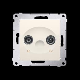 Gniazdo antenowe R-TV przelotowe tłum.:10dB kremowy-252893