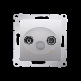 Gniazdo antenowe R-TV przelotowe tłum.:10dB srebrny mat, metalizowany-252894