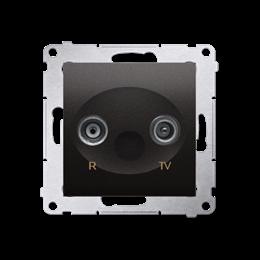 Gniazdo antenowe R-TV przelotowe tłum.:10dB antracyt, metalizowany-252896
