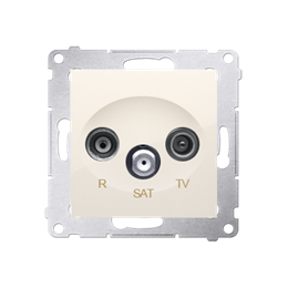 Gniazdo antenowe R-TV-SAT końcowe/zakończeniowe tłum.:1dB kremowy-252934