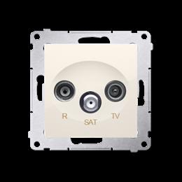Gniazdo antenowe R-TV-SAT przelotowe tłum.:10dB kremowy-252940