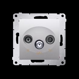 Gniazdo antenowe R-TV-SAT przelotowe tłum.:10dB srebrny mat, metalizowany-252941