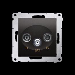Gniazdo antenowe R-TV-SAT przelotowe tłum.:10dB antracyt, metalizowany-252943