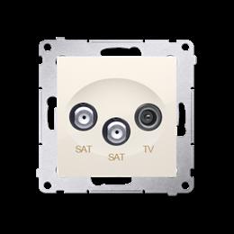 Gniazdo antenowe SAT-SAT-RTV satelitarne podwójne tłum.:1dB kremowy-252946