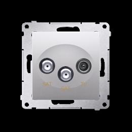 Gniazdo antenowe SAT-SAT-RTV satelitarne podwójne tłum.:1dB srebrny mat, metalizowany-252947