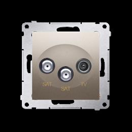 Gniazdo antenowe SAT-SAT-RTV satelitarne podwójne tłum.:1dB złoty mat, metalizowany-252948