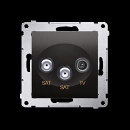 Gniazdo antenowe SAT-SAT-RTV satelitarne podwójne tłum.:1dB antracyt, metalizowany-252949