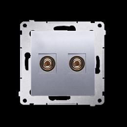 Gniazdo głośnikowe pojedyncze srebrny mat, metalizowany-253007