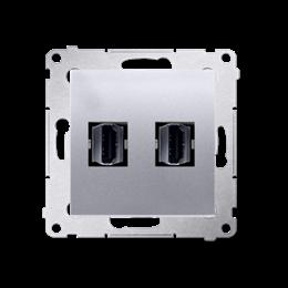 Gniazdo HDMI podwójne srebrny mat, metalizowany-253028