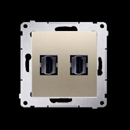 Gniazdo HDMI podwójne złoty mat, metalizowany-253029