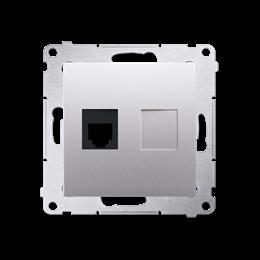 Gniazdo telefoniczne pojedyncze RJ12 (moduł) srebrny mat, metalizowany-253042