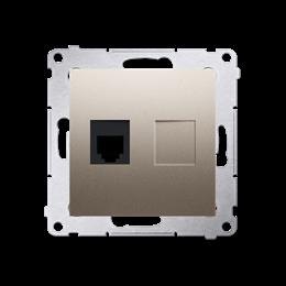 Gniazdo telefoniczne pojedyncze RJ12 (moduł) złoty mat, metalizowany-253043