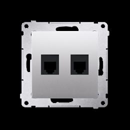 Gniazdo telefoniczne podwójne RJ12 (moduł) srebrny mat, metalizowany-253048