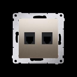Gniazdo telefoniczne podwójne RJ12 (moduł) złoty mat, metalizowany-253049