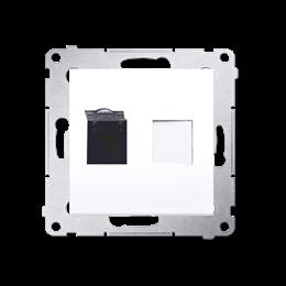Gniazdo komputerowe pojedyncze RJ45 kategoria 6, z przesłoną przeciwkurzową (moduł) biały-253052