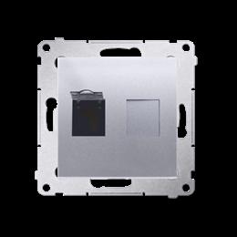 Gniazdo komputerowe pojedyncze RJ45 kategoria 6, z przesłoną przeciwkurzową (moduł) srebrny mat, metalizowany-253054