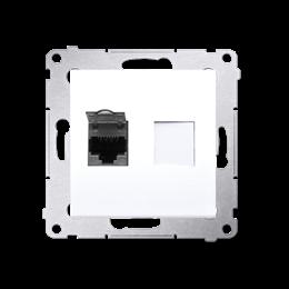 Gniazdo komputerowe pojedyncze ekranowane RJ45 kategoria 6, z przesłoną przeciwkurzową (moduł) biały-253064