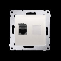 Gniazdo komputerowe pojedyncze ekranowane RJ45 kategoria 6, z przesłoną przeciwkurzową (moduł) kremowy-253065