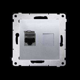 Gniazdo komputerowe pojedyncze ekranowane RJ45 kategoria 6, z przesłoną przeciwkurzową (moduł) srebrny mat, metalizowany-253066