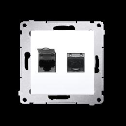 Gniazdo komputerowe podwójne ekranowane RJ45 kategoria 6, z przesłoną przeciwkurzową (moduł) biały-253070