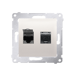 Gniazdo komputerowe podwójne ekranowane RJ45 kategoria 6, z przesłoną przeciwkurzową (moduł) kremowy-253071