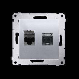 Gniazdo komputerowe podwójne ekranowane RJ45 kategoria 6, z przesłoną przeciwkurzową (moduł) srebrny mat, metalizowany-253072