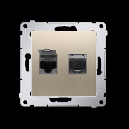 Gniazdo komputerowe podwójne ekranowane RJ45 kategoria 6, z przesłoną przeciwkurzową (moduł) złoty mat, metalizowany-253073