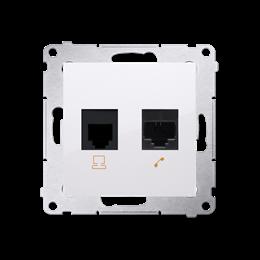Gniazdo komputerowe RJ45 kategoria 5e + telefoniczne RJ12 (moduł) biały-253076