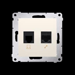 Gniazdo komputerowe RJ45 kategoria 5e + telefoniczne RJ12 (moduł) kremowy-253077
