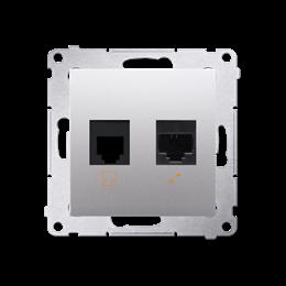 Gniazdo komputerowe RJ45 kategoria 5e + telefoniczne RJ12 (moduł) srebrny mat, metalizowany-253078