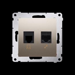 Gniazdo komputerowe RJ45 kategoria 5e + telefoniczne RJ12 (moduł) złoty mat, metalizowany-253079
