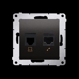Gniazdo komputerowe RJ45 kategoria 5e + telefoniczne RJ12 (moduł) antracyt, metalizowany-253080